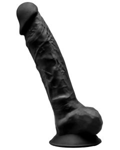 Suction Cup Black Dildo 23 cm With Testicles