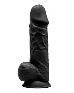 Gode Ventouse Réaliste Noir 21.5 cm Thermo-Reactive