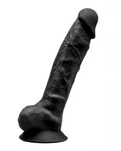 Gode Ventouse Testicules Noir 23 cm