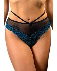 Culotte ouverte taille haute en tulle et dentelle - Luxure by Dorcel