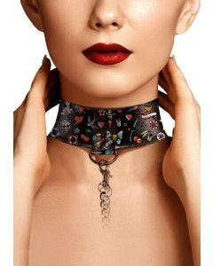 Collar With Leash Printed Old School Tatoo Style Collection