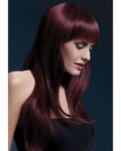 Perruque Cheveux Longs à Frange Prune